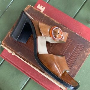 Vintage Italian brown leather chunky heel sandals